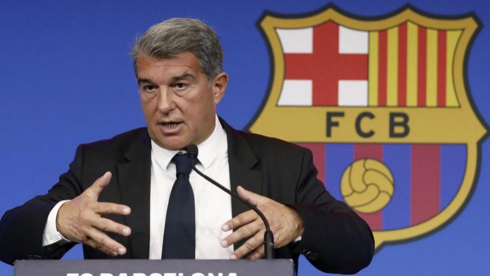 Joan Laporta, durante una rueda de prensa como presidente del FC...