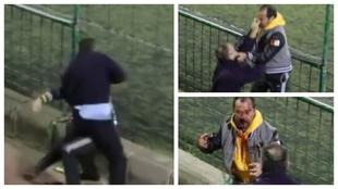 Un montaje con varias imágenes de la pelea.
