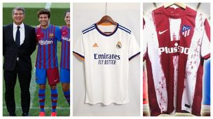 Barcelona, Real Madrid and Atletico Madrid's home shirts for the...