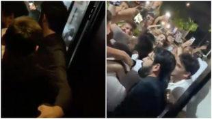 Dos capturas del momento en que Messi estuvo en el café en Miami.