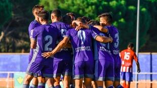 Jugadores del Valladolid celebrando un gol contra el Atlético...