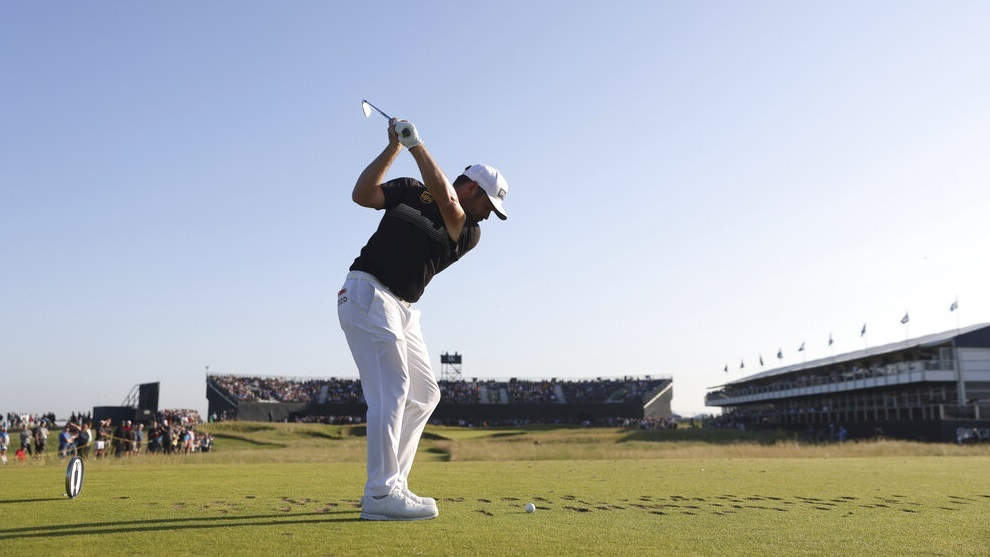 South Africa's Louis Oosthuizen hits his tee shot on the 16th hole.