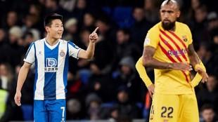 El Espanyol celebra un tanto de Wu Lei.