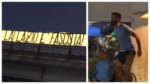 La pancarta de los radicales de la Lazio y, a la derecha, Hysaj,...