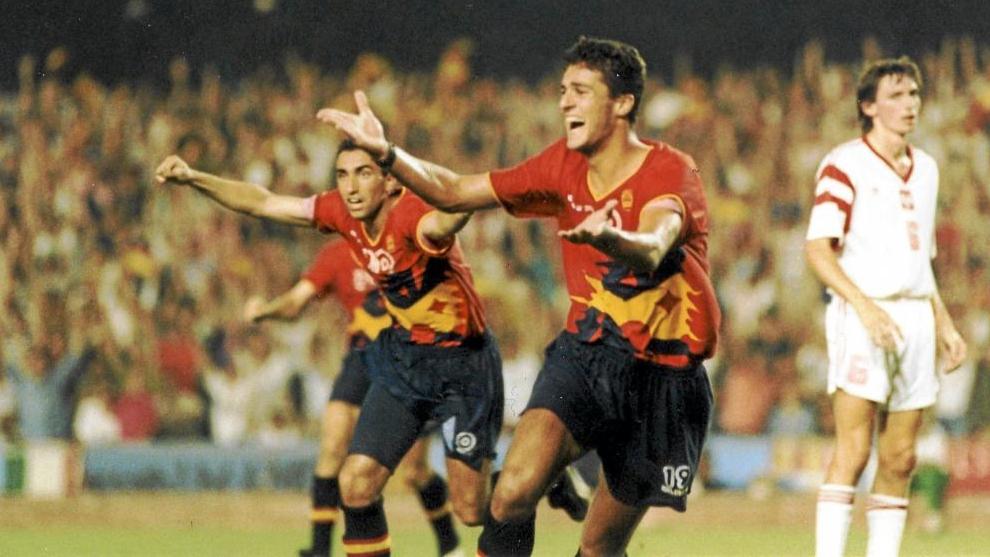 Kiko marca en el 90' el gol de la victoria en la final de los Juegos de Barcelona.