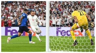 Luke Shaw marca el gol que 'abrió' la final contra Italia a...