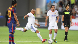 Roberto Carlos strikes a freekick.