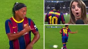 El show de Ronaldinho: pases sin mirar, un larguerazo... y tirada de caña a una periodista