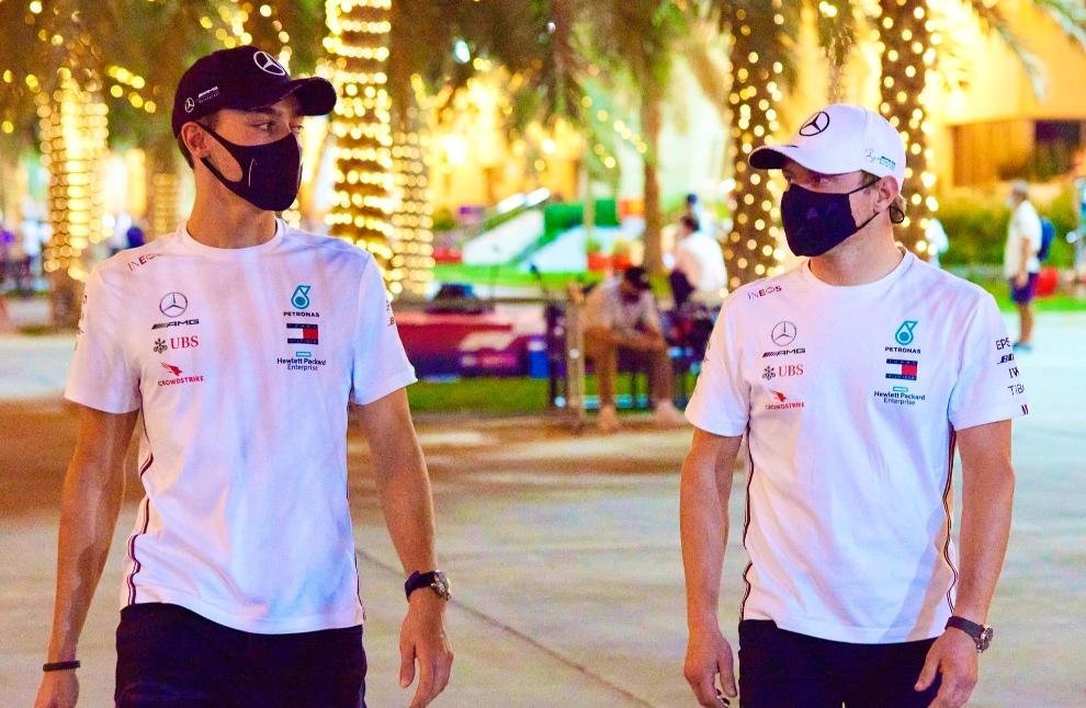 Russell y Bottas en Bahrein 2020