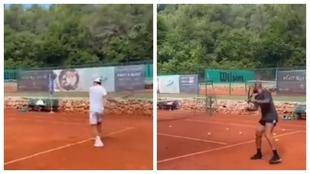 Federer y Thierry Henry entrenando juntos