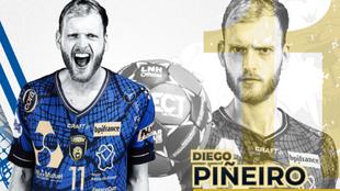 El pivote español, Diego Piñeiro, con la camiseta del Dunkerque /