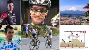 Montaje con los ciclistas españoles que han competido en Japón