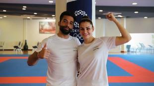 Raúl Cuerva y Elena Quirici, durante su entrenamiento previo a los...