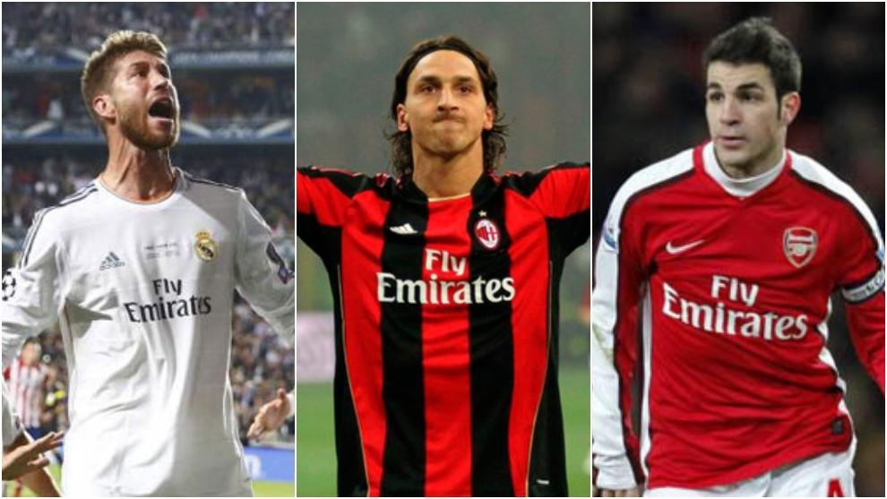 Camisetas del Real Madrid, Milan y Arsenal.
