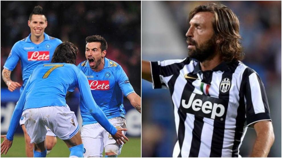 Lavezzi, Cavani y Hamsik celebrando un gol con el Nápoles y Pirlo en un partido con la Juventus.
