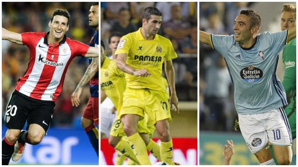 Aduriz con el Athletic, Cani con el Villarreal e Iago Aspas con el Celta.