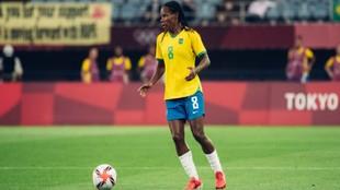 Formiga, durante el debut de Brasil en los Juegos Olímpicos de Tokio...