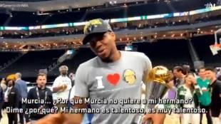 Increíble: acaba de ganar la NBA y el MVP, y Antetokounmpo se acuerda ¡¡¡de Murcia!!