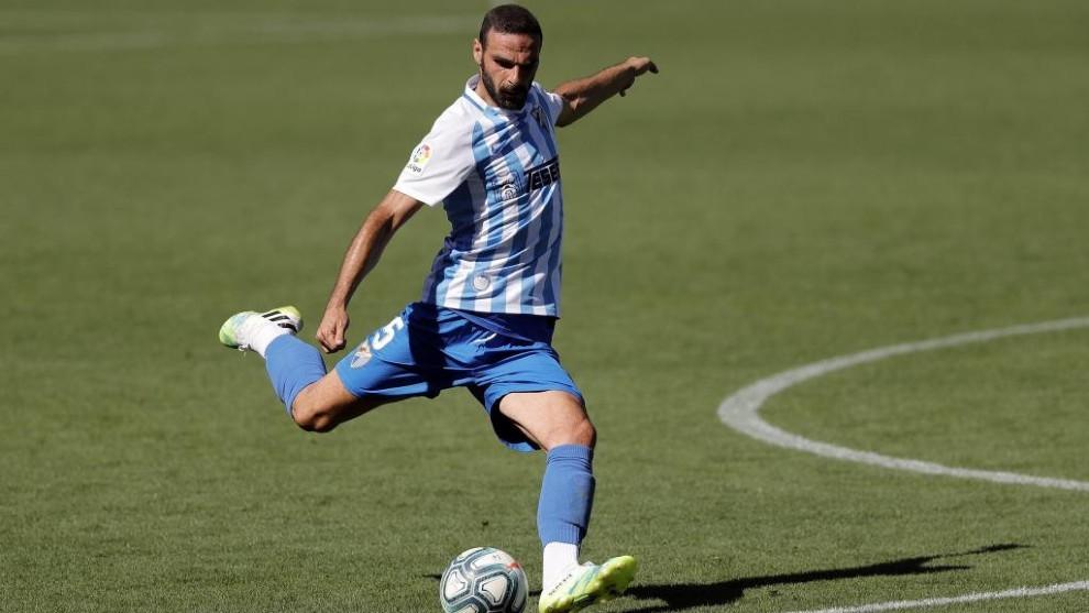 David Lombán durante un partido con el Málaga la pasada temporada.