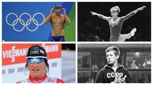 Phelps, Latyinina, Bjorgen y Andrianov, de izquierda a derecha y de...
