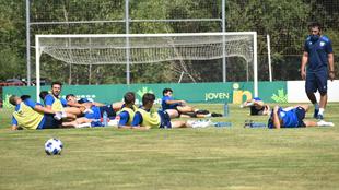 Los jugadores del Numancia, durante la sesión de entrenamiento de...