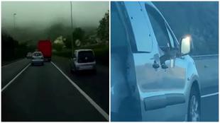 Un coche adelanta por el arcén y el ocupante de otro vehículo saca...
