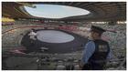 Vista general del Estadio Olímpico de Tokio, listo para la Ceremonia...