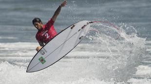 Medina durante su actuación en el estreno del surf en unos Juegos...