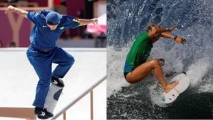 El skater Gustavo Felipe y la surfista Anat Lelior