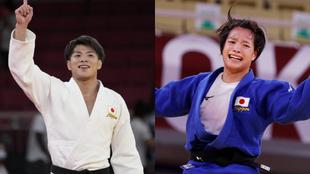 Hifumi Abe y Uta Abe, tras ganar sus finales.