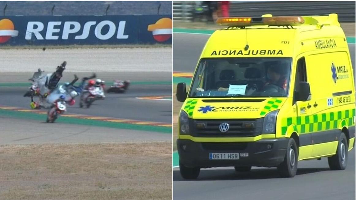 Momento del accidente de Hugo Millán y la ambulancia que lo llevó al helipuerto de Motroland.
