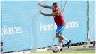 Antoine Griezmann, durante un entrenamiento de esta pretemporada con...
