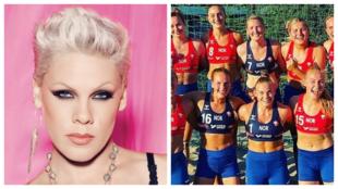 The singer Pink, and the Norwegian women's beach handball team.