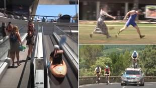 El genio del humor está de vuelta: los imperdibles JJ.OO de Rémi Gaillard: lanzamiento de bolso, kayak en centro comercial...