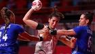 Una imagen del partido entre España y F
