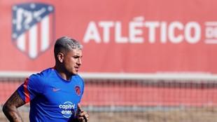 Giménez, en su regreso al trabajo con el Atlético.