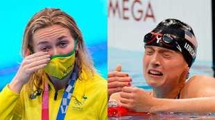 Ariarne Titmus y Katie Ledecky, emocionadas por sus respectivos...