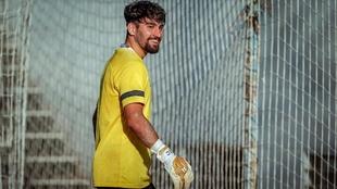 El portero Gonzalo, durante un entrenamiento con el Málaga.