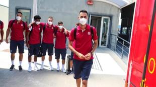 Sergio Busquets y varios jugadores del Barça