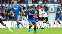 Fekir, en una acción ante el Derby County.