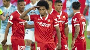Koundé celebra su gol en un partido ante el Celta.