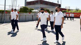 Los integrantes de la selección de fútbol sala, en Las Rozas