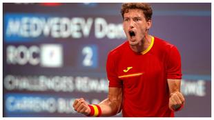 Pablo Carreño celebra su victoria frente a Daniil Medvedev en los...