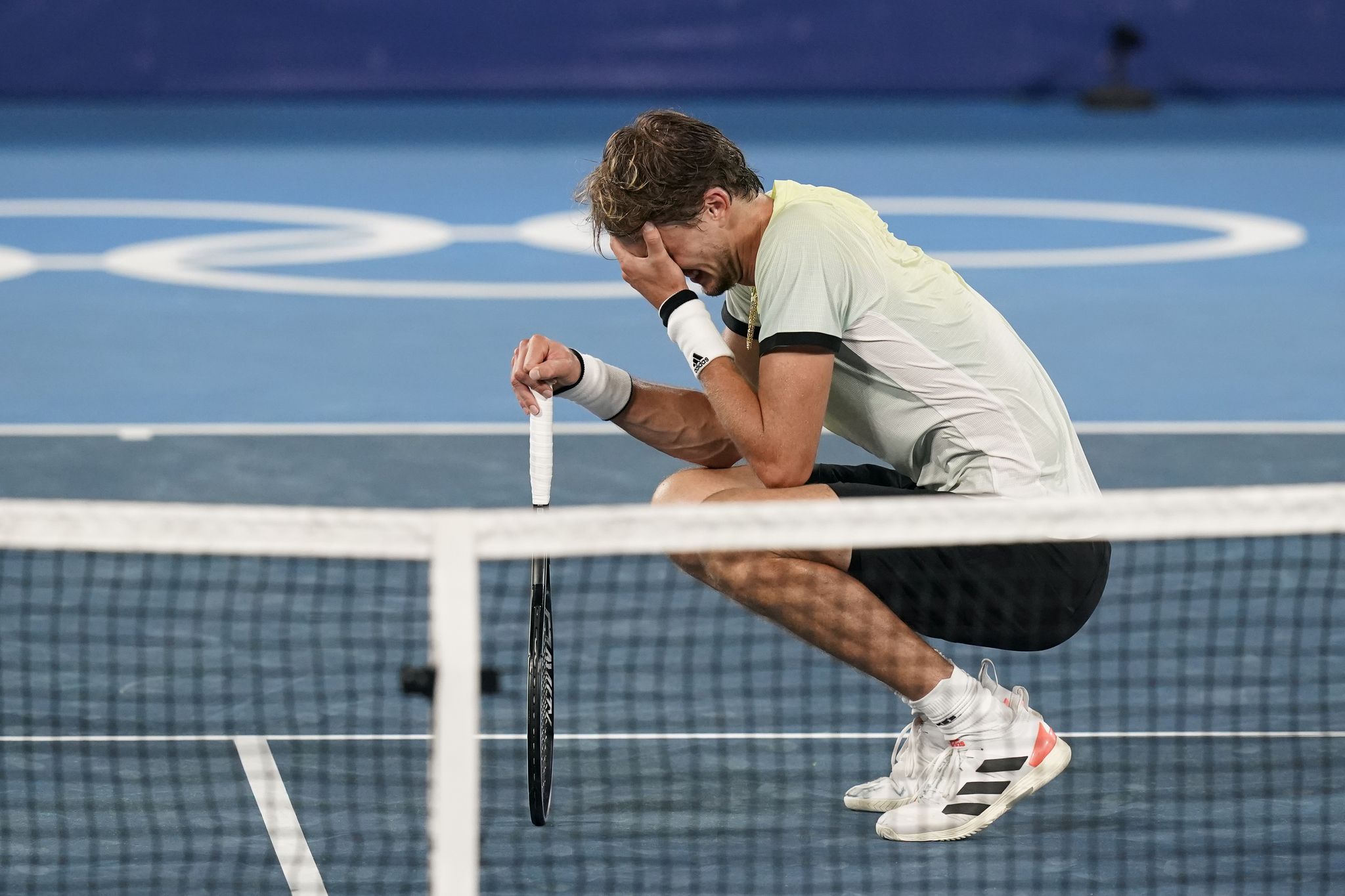Germany's Alexander Zverev reacts after defeating Serbia's Novak Djokovic.