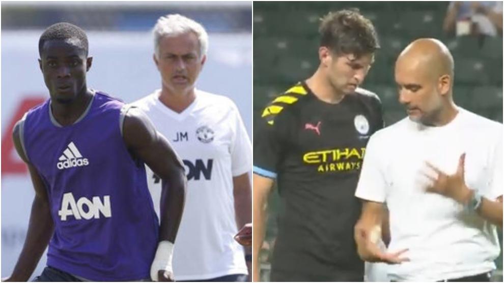 Bailly con Mourinho y Stones con Guardiola.