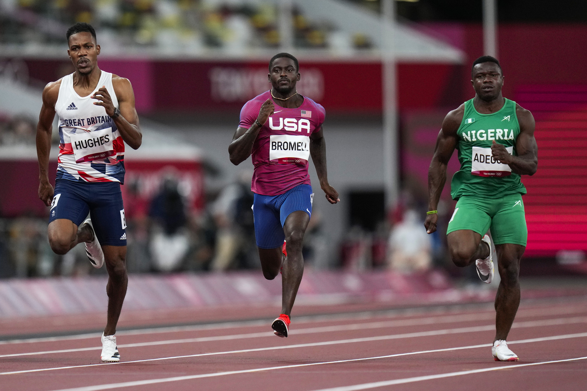 USA star Trayvon Bromell in the men's 100m heat at the Tokyo Olympics.