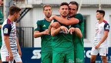 Kike Barja celebra su gol ante el Mirandés.