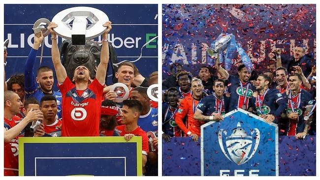Los jugadores del Lille y del PSG celebran la conquista de la Liga y...