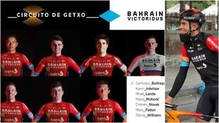 Montaje con una imagen de Landa en Donostia y el equipo del Bahrain...