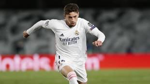 Fede Valverde, en un partido con el Real Madrid de Champions.